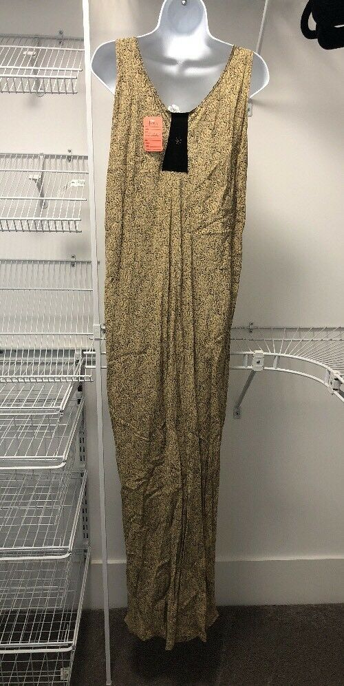 NEW women Jessica Jessica Jessica Vintage Yellow Patterned Sleeveless Maxi Dress. Size 3. New 7788bb