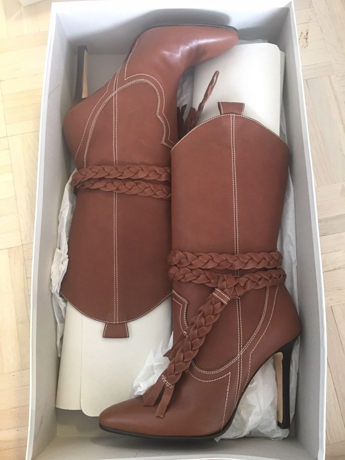 Manolo Blahnik Brown Leather Tall Boots 38.5  1295