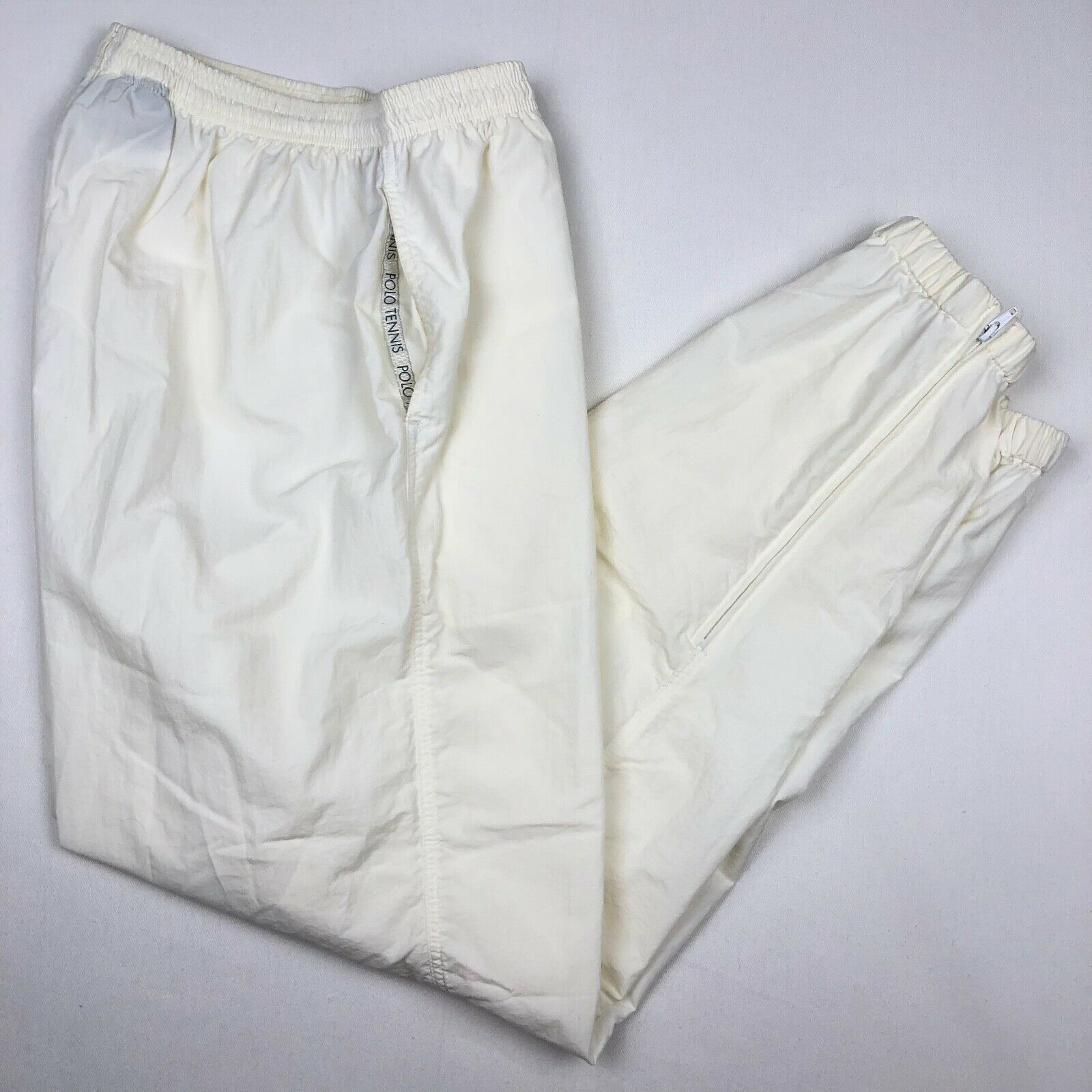 VTG 90s Ralph Lauren POLO SPORT TENNIS Mens White Windbreaker Jogger Pants LARGE
