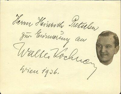 Czech Actor Walter Kochner Autograph 1936 Autographs-original