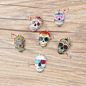 Cool Gold Tone Enamel Colorful Skull Head Charms Pendants Jewelry Making 12x21mm