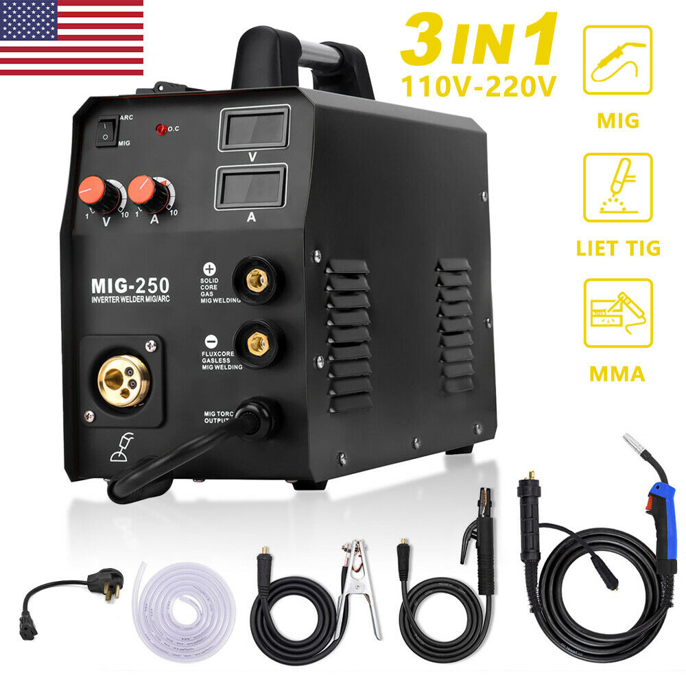 3in1 110/220V MIG Welder ARC Lift TIG Welding Machine Inverter 200A Gas Gasless. Available Now for 250.98