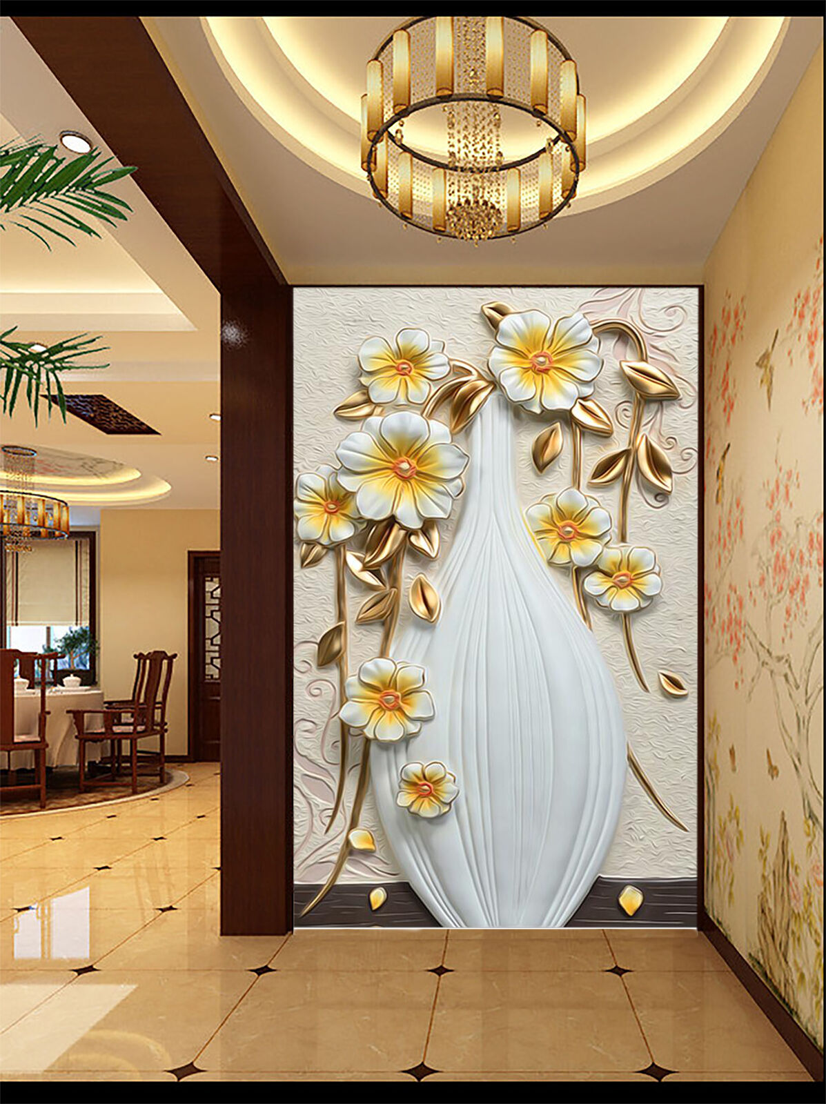 3D  Flower carved vases Wall Paper wall Print Decal Wall Deco Indoor wall Mural