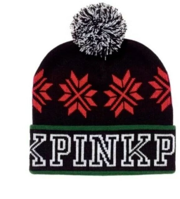 VICTORIAS SECRET PINK NATION KNIT WINTER BEANIE HAT CHRISTMAS BNWT