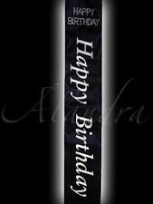 Felice Festa di Compleanno Nero e Argento Fascia Per Compleanno Ragazza con diamanti