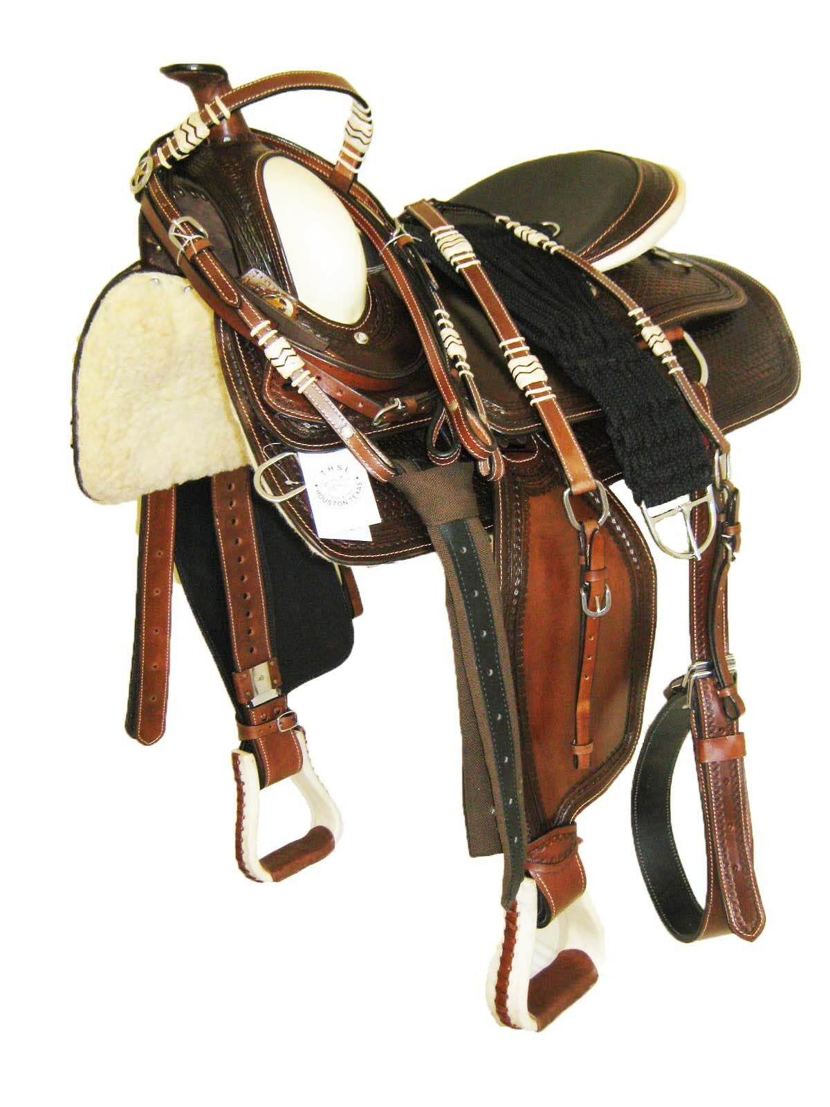 THSL  WESTERN SADDLE PKG TOOLED - DARK OIL - RAW HIDE POMMEL - 16   (1020DO)