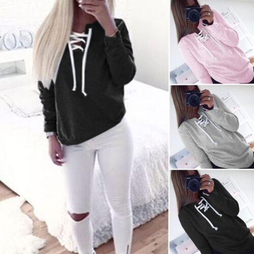 Womens V Neck Lace-Up Long Sleeve Pullover Jumper Sweater Top Sweatshirt Outwear