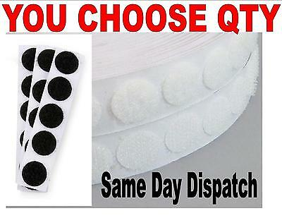 VELCRO® BRAND SPOT CIRCLES 1/2 inch HOOK AND LOOP WHITE BLACK CHOOSE QUANTITY