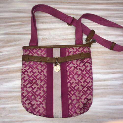 Tommy Hilfiger Crossbody Bag Hot Pink/tan Canvas - image 1
