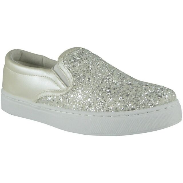ae514c62176e5c Womens Ladies Trainers Slip on Flat Glitter Gym SNEAKERS PUMPS Shoes ...