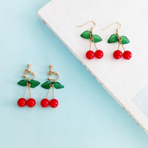 Cherry Fruits Pendants d/'oreilles Femmes Fille Crochet Clip Boucles D/'oreilles Mode Bijoux Mignon