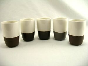 0d52eff8937 Details about SET OF 5 Starbucks 2012 Sake Tea Espresso Cup No Handle Two  tone White Brown