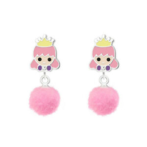 f7c930364 Sterling Silver Girls Pink Pom Pom PRINCESS Drop Earrings Macaroon ...