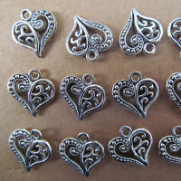 20pc Hollow out Tibetan Silver Heart-shaped Dangle Charm Beads 14*15mm