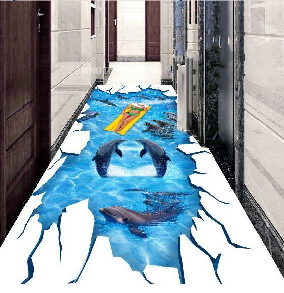 3D delfino piscina Pavimento Foto Wallpaper Murales Muro Stampa Decalcomania