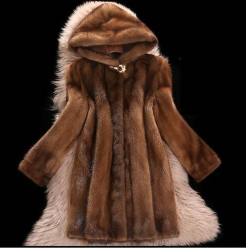\Women Mink Fur Long Coat Hooded Overcoat Jacket Winter  Outwear Plus 6XL zhou8