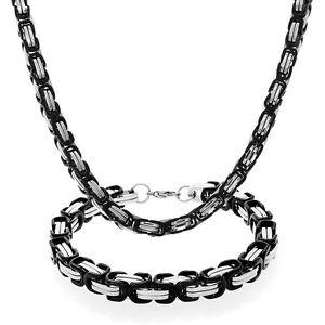 Collana-e-Bracciale-catena-UOMO-Nero-Oro-Argento-Acciaio-inox-S-Steel-316L-6mm