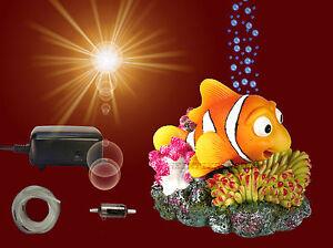 aquarium deko beweglicher nemo membranpumpe schlauch dekoration zubeh r ebay. Black Bedroom Furniture Sets. Home Design Ideas