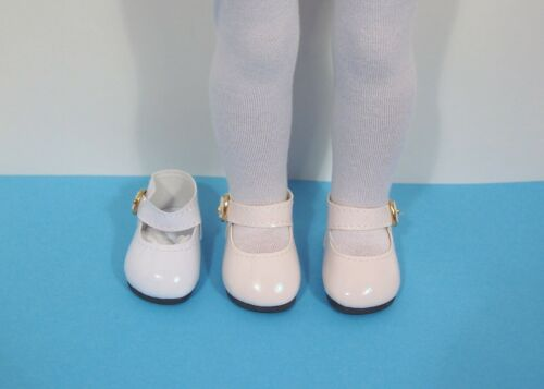 "LT CREAM Patent Snazzy Doll Shoes For 14/"" American Girl Wellie Wishers Debs"
