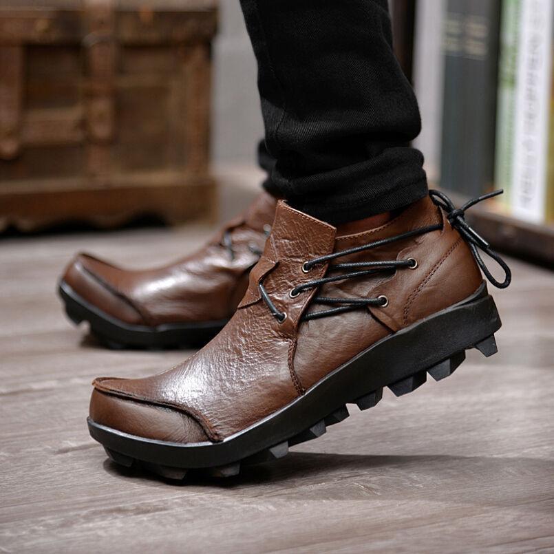 botas al Tobillo Para Hombre De Cuero Con Cordones Oxford Informales Zapatos de trabajo al aire libre de la motocicleta