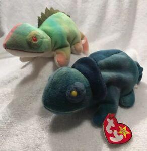 4987a2d6dc4 w  TAGS! 1997 TY Beanie Baby IGGY   RAINBOW Plush Iguana Chameleon ...