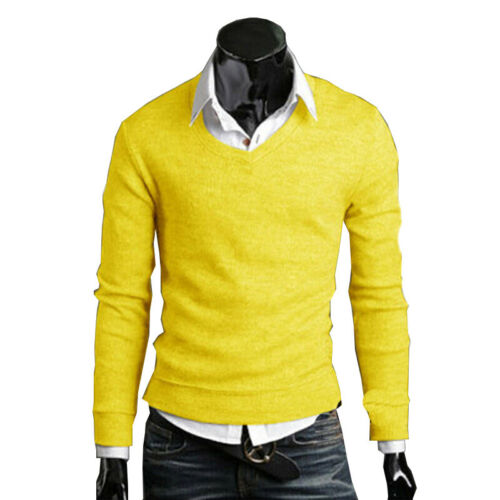 Mens Solid Knitted Tops Stylish V Neck Long Sleeve Sweater Slim Fit Pullover 2XL