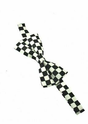 Unisex Black and White Check Checkered Pattern Novelty Bow Tie Brand New