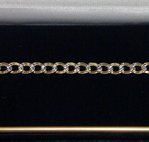10K Bracelet En Or Pour Hommes//Femmes Véritable Cubain Lien Diamond Cut 5 mm 8 pouces NEUF