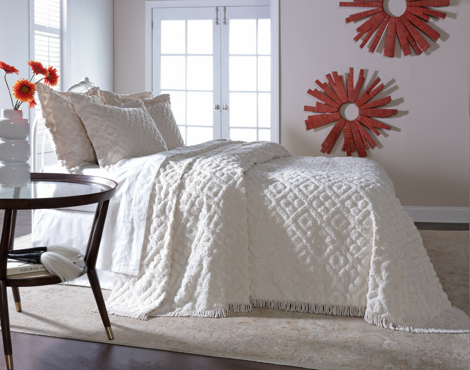 DIAMOND TUFTED CHENILLE BEDSPREAD AND PILLOW SHAM SET, ALL COTTON