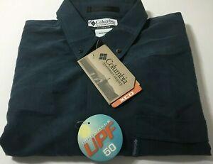 Columbia-Sportswear-Omni-Shade-UPF-50-Button-Down-L-S-Blue-Dress-Shirt-NWT