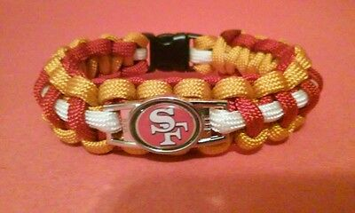 "SAN FRANCISCO 49ERS PARACORD BRACELET 8"" NFL FOOTBALL GOLDEN ROD RED WHITE CHARM"