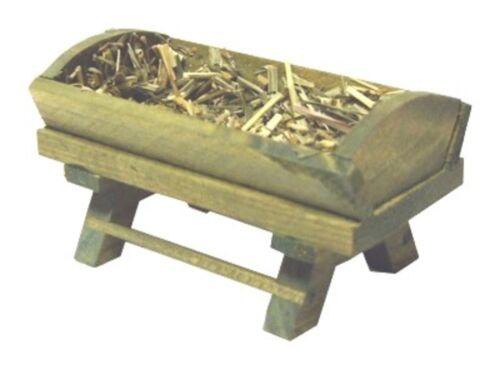 Krippe Krippenbett gebeizt mit Heu 8,5x5x5cm FL0059