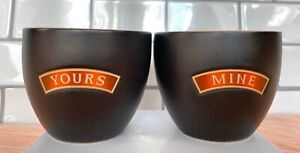 Bailey's Irish Cream YOURS and MINE Ceramic Cups - 2 Small Mugs/Shot Glasses