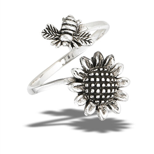 Open Adjustable Bee Sunflower Flower Thumb Ring Sterling Silver Band Sizes 6-10