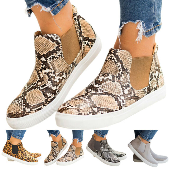 Women Snake Print High Top Sneakers Ankle Boots Low Flat Heel Loose Casual Shoes