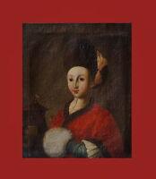 Barockgemälde Portrait einer Dame -  Öl auf Leinwand - 18. Jahrhundert  (# 7542)