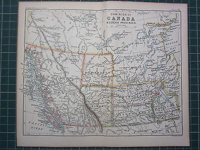 1887 Antique Map Dominion Canada Western Provinces Athabasca Alberta Vancouver Antiques
