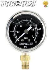 Torques Analog Fuel Pressure Gauge Black Face 0-1 BAR / 0-15 PSI Fluid Filled