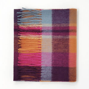 Kiltane-of-Scotland-100-Lambswool-Tartan-Scarf-Orient-Ginger-New-Square-Check
