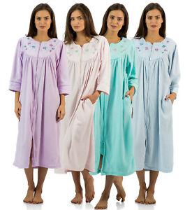 c371e6c085 Casual Nights Women s Zipper Front Jacquard Fleece Long Robe Duster ...
