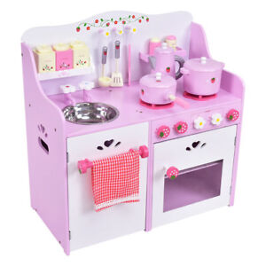 Details About Kids Wood Pink Strawberry Pretend Cooking Kitchen Toy Play Set Toddler Boy