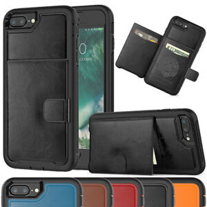 For-Apple-iPhone-7-8-6s-6-Plus-Shockproof-Rugged-Leather-Wallet-Card-Case-Cover
