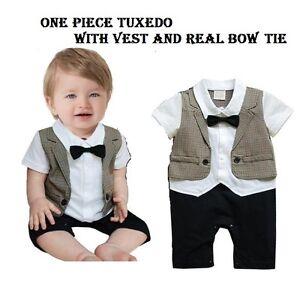 Baby Boy Formal Tuxedo SHORT Sleeve One-Piece Romper Suit size 00//0//1//2 grey
