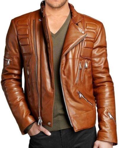 Mens Biker Vintage Distressed Brown Slimfit Cafe Racer Motorcycle Leather Jacket