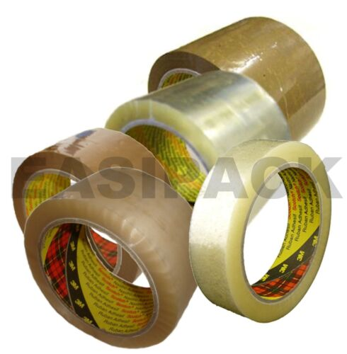 Packing Tape Rolls 25mm 48mm /& 75mm Scotch 3M 371 Heavy Duty Clear Buff Parcel