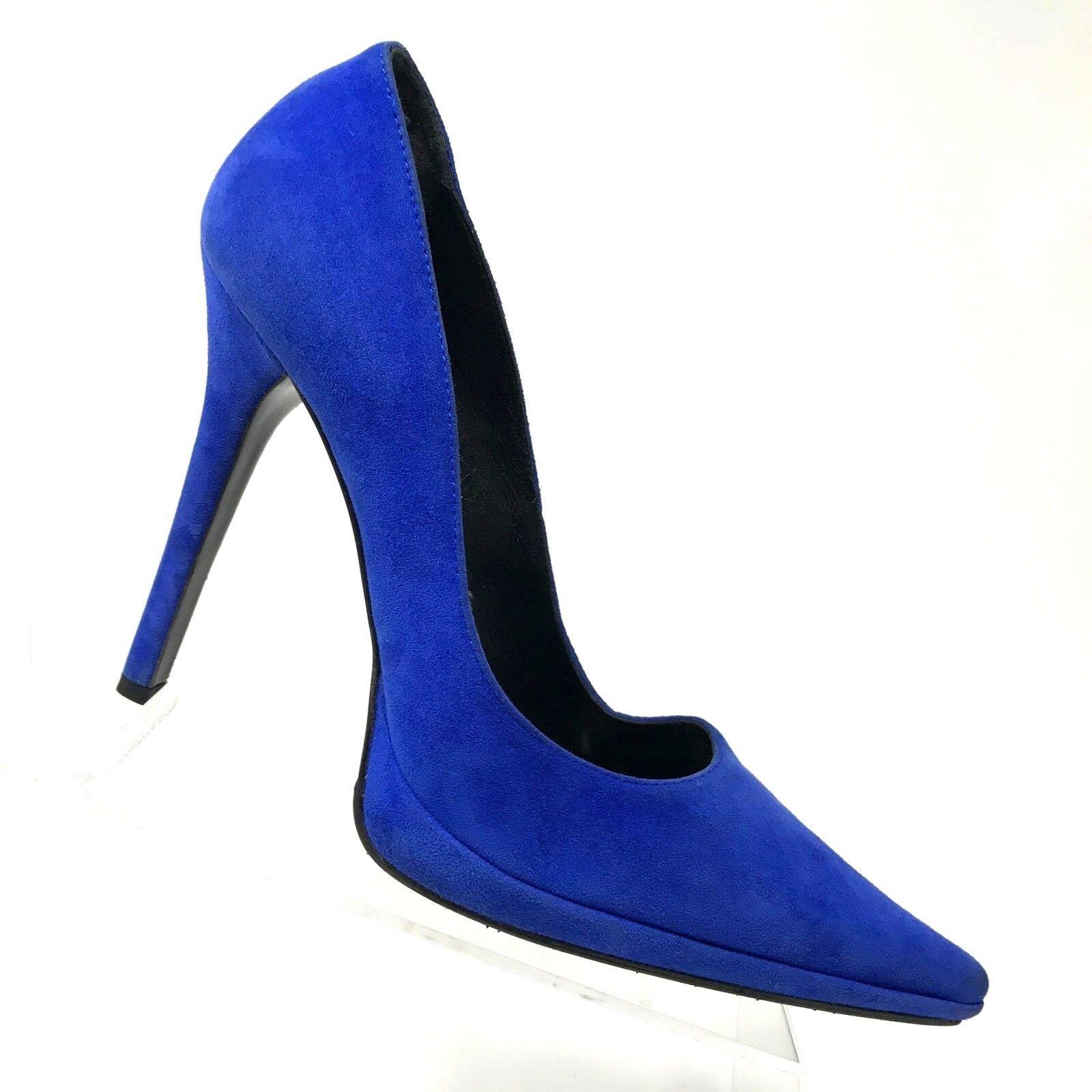Casadei bleu Suede Platform Pump Pointed Toe Stiletto Heel femmes chaussures Taille 8