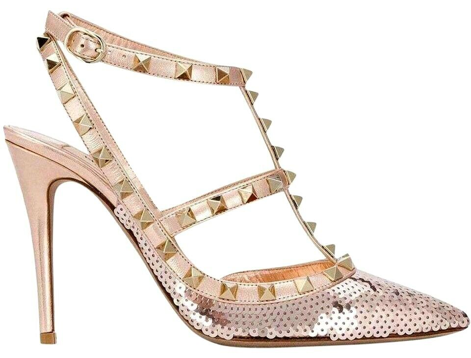 VALENTINO ROCKSTUD STUDDED pink gold LEATHER SEQUIN T STRAP PUMP SIZE 37  1275