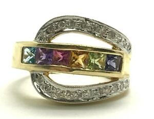 14K-Yellow-Gold-Colorful-Gemstone-Diamond-Pave-Belt-Buckle-Cocktail-Band-Ring