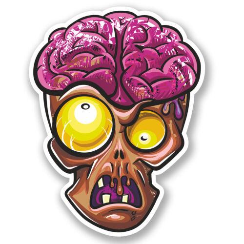 2 x tête de zombie Vinyle Autocollant iPad Ordinateur Portable Casque Vélo Voiture Skate Garçons cerveau # 4642