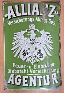 Emailschild Allianz um 1900, extreme Rarität! RRR